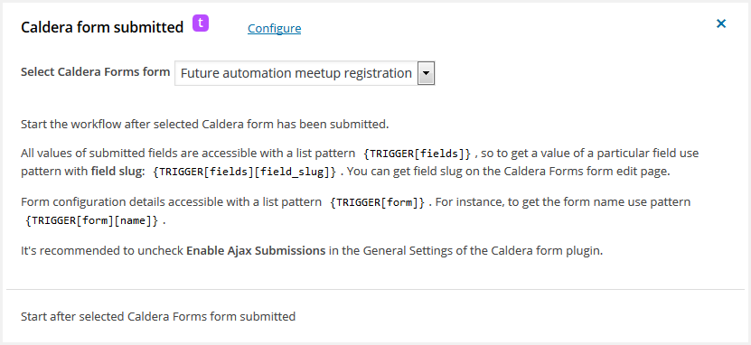 Caldera Forms submitted – workflow for WordPress trigger