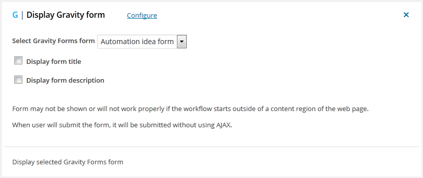 Display Gravity Forms form - workflow for WordPress action
