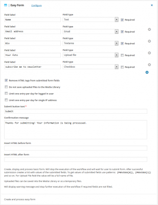 Easy Form for WordPress automation
