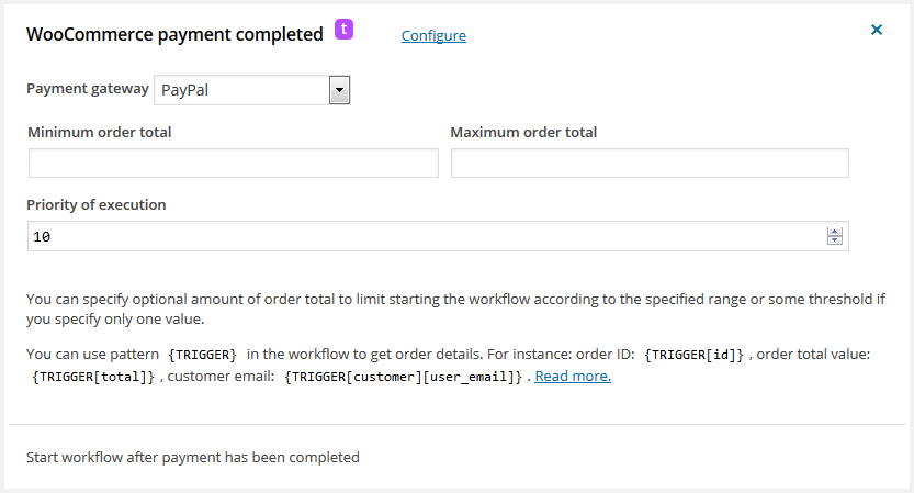 WooCommerce payment completed – workflow for WordPress trigger