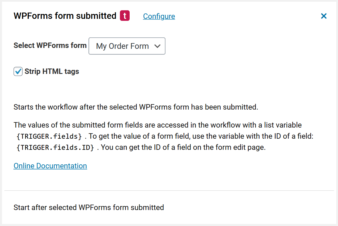 WPForms form trigger for wordpress automation
